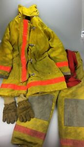 Morning Pride Firefighter Jacket 40 Chest Suspender Pants 38x30 Gloves
