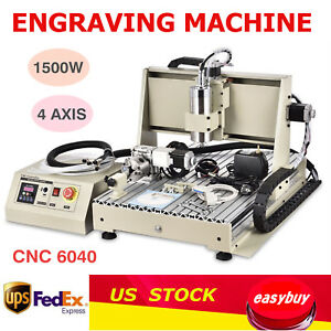 1 5kw 4 Axis Cnc 6040 Router Engraver Engraving Mill cutting Carving Machine Vfd