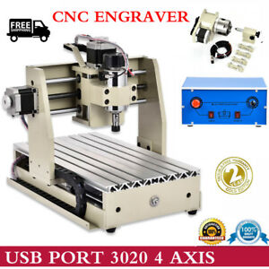 4 Axis 3020t Cnc Router Engraving Machine Usb Port Metal Woodworking Engraver Us