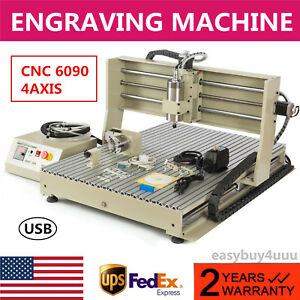 1 5kw 4axis 6090 Cnc Router Engraving Machine Woodworking Milling Tools Usb Port