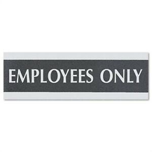 Century Series Office Sign Employees Only 9 X 3 Black silver 2 Pack