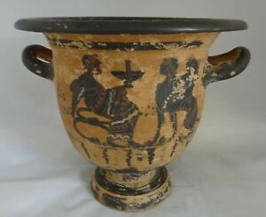 Antique Greek Pottery Two Handled Vase With Finely Painted Scenes 7 Tall