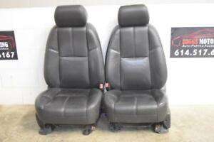 2007 2014 Tahoe Yukon Escalade Ebony Black Leather Front Seats