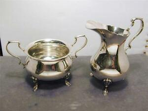 Reed Barton Jack Shepard Reproduction Footed Creamer Sugar Set Shells Hooves