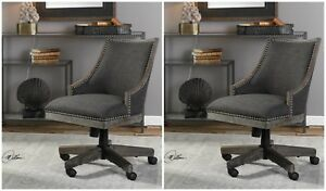 Pair Charcoal Gray Linen Nail Trim Weathered Wood Frame Office Desk Chair