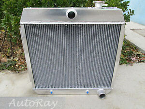 3 Rows Aluminum Radiator For Ford Chevy Bel Air W Cooler V8 1955 1957 Auto 56