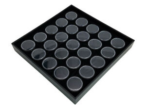 Half Size 25 Gem Coin Jars Stackable Jewelry Display Travel Tray Black