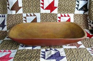 Primitive Large Faux Treen Red Painted Centerpiece Bowl Christmas 22 1 2 Inches