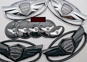 7pcs Black Silver Color Car Emblems Badges For 2010 2015 Hyundai Genesis Coupe