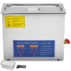 Stainless Steel 15l Liter Ultrasonic Cleaner Heater Industry Heated W Timer New