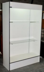 Large Lighted Standing Display Cases W Adjustable Glass Shelves 78 hx18 dx48 w