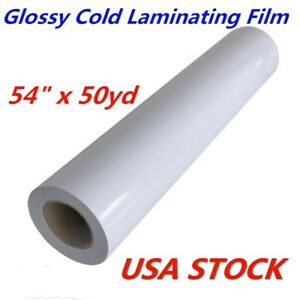 Usa Stock 54 X 50 Yard Roll Glossy Cold Laminating Film Monomeric 3 15 Mil