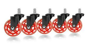 Set Of 5 Floor Protecting Rubber Office Chair Caster Wheels Heavy Duty Black Red