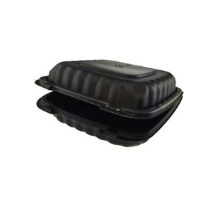 Pactiv Earthchoice Smartlock Tfpp 1 Compartment H l Container 9x9 Black