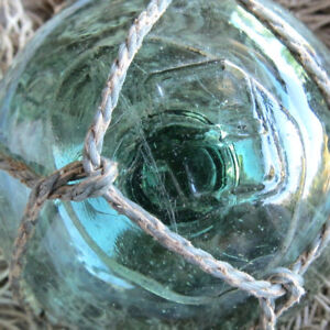 Japanese Blown Glass Float 2 Wp Mark 166 Hi Sun Or Day Green Netted Antique