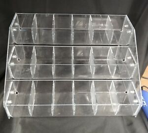 18 Compartment Acrylic Tiered Display Sample Countertop Rack