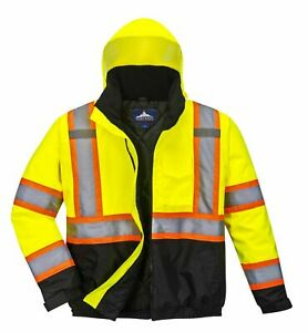 Portwest Us367 High visibility 2 in 1 Contrast Tape Bomber Jacket Class 3 New