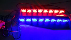 48 Led Blue red Warning Flashing Emergency Strobe Dash Split Deck Light Bar 12v