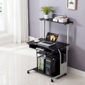 Table Laptop W printer Shelf Stand Rolling Study Home Black Computer Office Desk