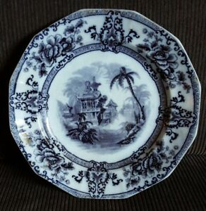 Ironstone Cyprus Davenport England Flow Black Mulberry 9 1 4 Plate 1848