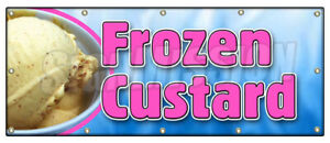 Frozen Custard Banner Sign Ice Cream Cones Sundae Banana Split Homemade