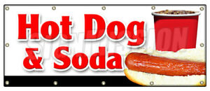 Hot Dog Soda Combo Banner Sign All Beef Drink Frank Meal Deal Chili