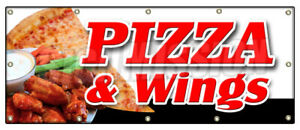 Pizza Wings Banner Sign Brick Oven New York Chicago Italian Spicy