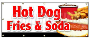 Hot Dog Fries Soda Banner Sign All Beef Drink Frank Meal Deal Chili