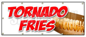 Tornado Fries Banner Sign Spiral Cut Deep Fried On A Stick Potatoes