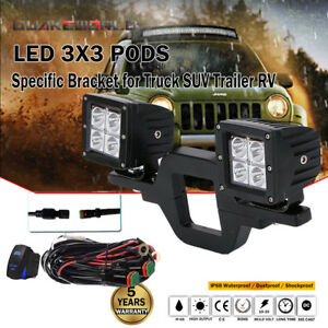 For Universal Tow Hitch Mounting Bracket Cube Led Fog Light Kit W wiring Harness