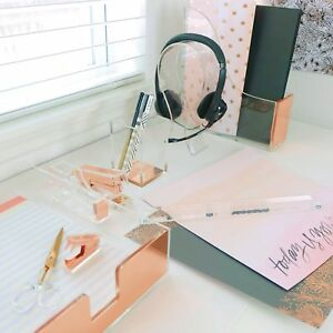 Dreamy Desk Organizer Set In Acrylic And Rose Gold