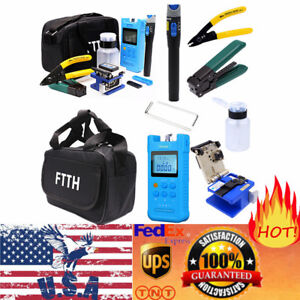 10 In 1 Fiber Optic Ftth Tool Kit Fc 6s Fiber Cleaver Optical Power Meter Usa