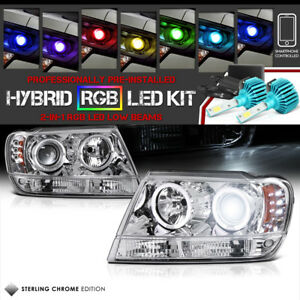 99 04 Jeep Grand Cherokee Wj Wg Halo Led Headlights color Strobe Led Low Beam