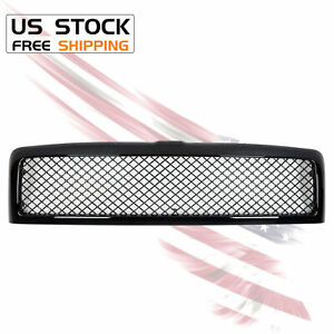 Glossy Black Front Hood Grille Grill Mesh For 94 02 Dodge Ram 1500 2500 3500