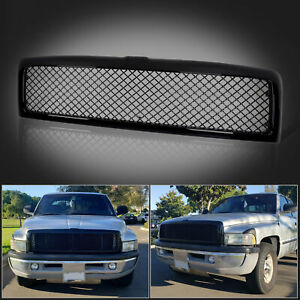 Glossy Black Front Hood Grille Grill Mesh For 94 01 Dodge Ram 1500 2500 3500