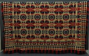 Antique Woven Coverlet S B Musselman 1853 No 878 Red Blue Hilltown Bucks Co Pa