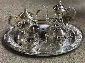 Gorham Silver Plate 5pc Buttercup Tea Set W Tray Total Weight 13lbs