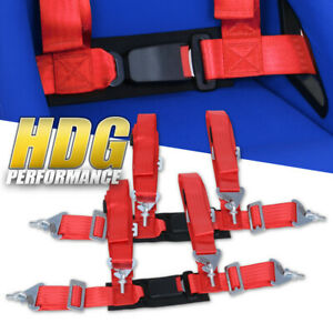 2x Universal 2 Wide Red 4pt Safety Racing Seatbelt Harness Strap W Buckle