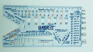 New Gage it Hardware Gauge Measuring Tool For Pipe Threads Wire Drills More