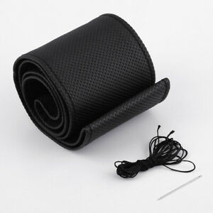 Diy Leather Car Truck Steering Wheel Cover M Size With Needles Thread Black 15