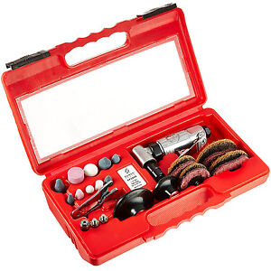 Pneumatic Right Angle Grinder Kit Stone Small Tool Spanner Wrench Carry Case Air