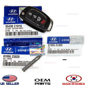 Folding Key Remote Control Remote Transmitter Set 3pcs Genuine Sonata 15 17