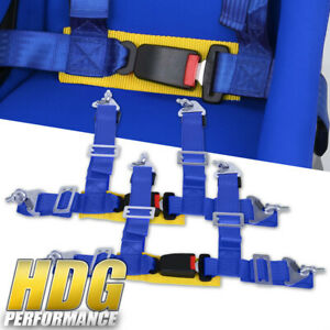 Pair Of 2 Wide Blue Gold Seat Belt Harness 4 Point Safety W Buckle Latch