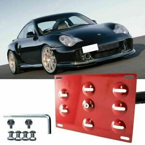 Tow License Plate Mount Bumper Bracket Kit Red For Porsche 911 997 Boxster 986