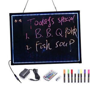 32 x24 Erasable Neon Light Led Writing Board Menu Signs With 8 Pcs Highlighters