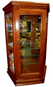 Vintage Tabletop Illuminated Curio Cabinet Display Case W Three Glass Shelves