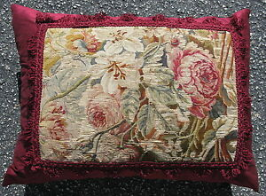 Pillow Made From 18thc French Aubusson Tapestry Hand Woven Wool And Silk 24 X18