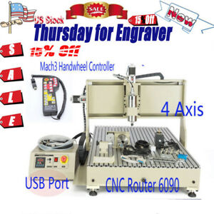 Router Engraver 4 Axis 2 2kw Cnc 6090 Cutter Control Mill Wood 3d Usb Ups Port