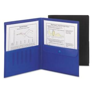 Smead Poly Two pocket Folder With Security Pocket Letter Size Black 5 Per