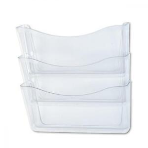 Rubbermaid Unbreakable Three Pocket Wall File Set Letter Clear rub65976ros